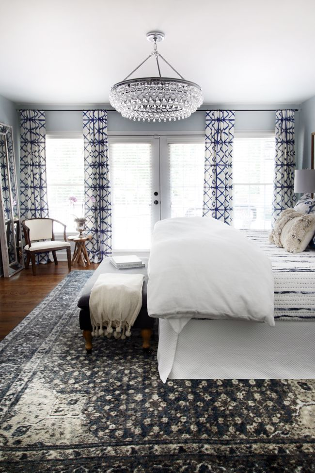 One Room Challenge Master Bedroom Makeover By Hunted Interior Blue Shibori Drapery Chandelier