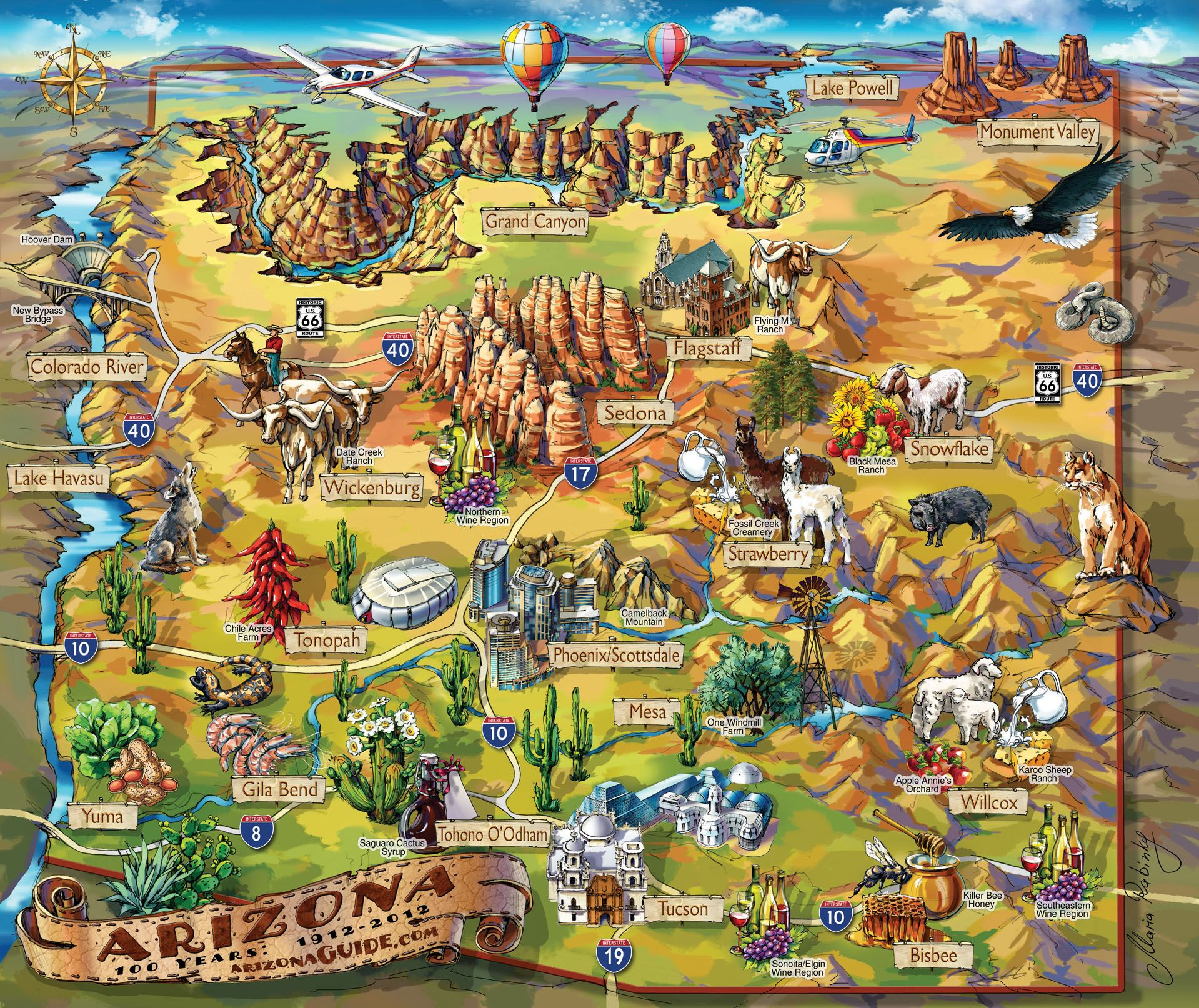 Travel Map Of Arizona Illustrated Arizona Map | TRISTAN'S HIDEOUT!⛺   | Arizona travel