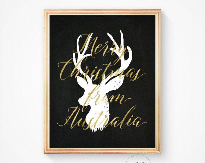 christmas deer christmas art holiday print merry christmas australia christmas from australia print printable art wall art deer print pinterest