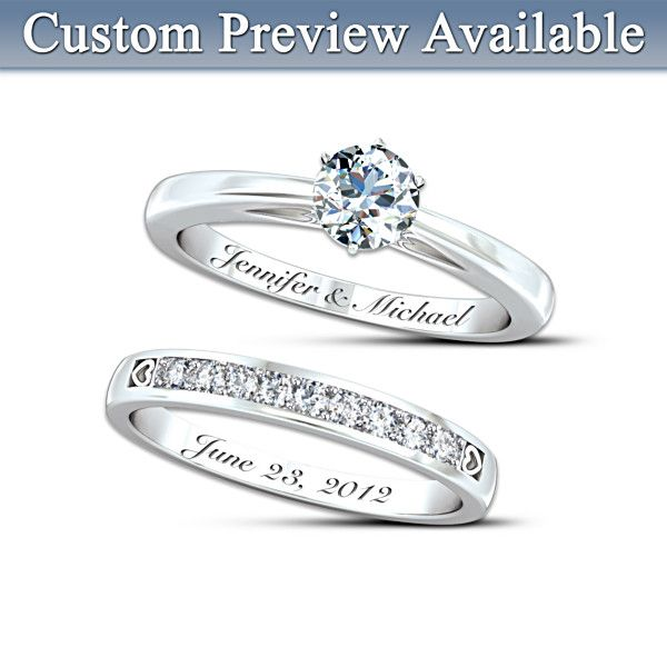 You Can Preview The Rings Engraving Too Our Forever Love Personalized Diamond Bridal Ring Set