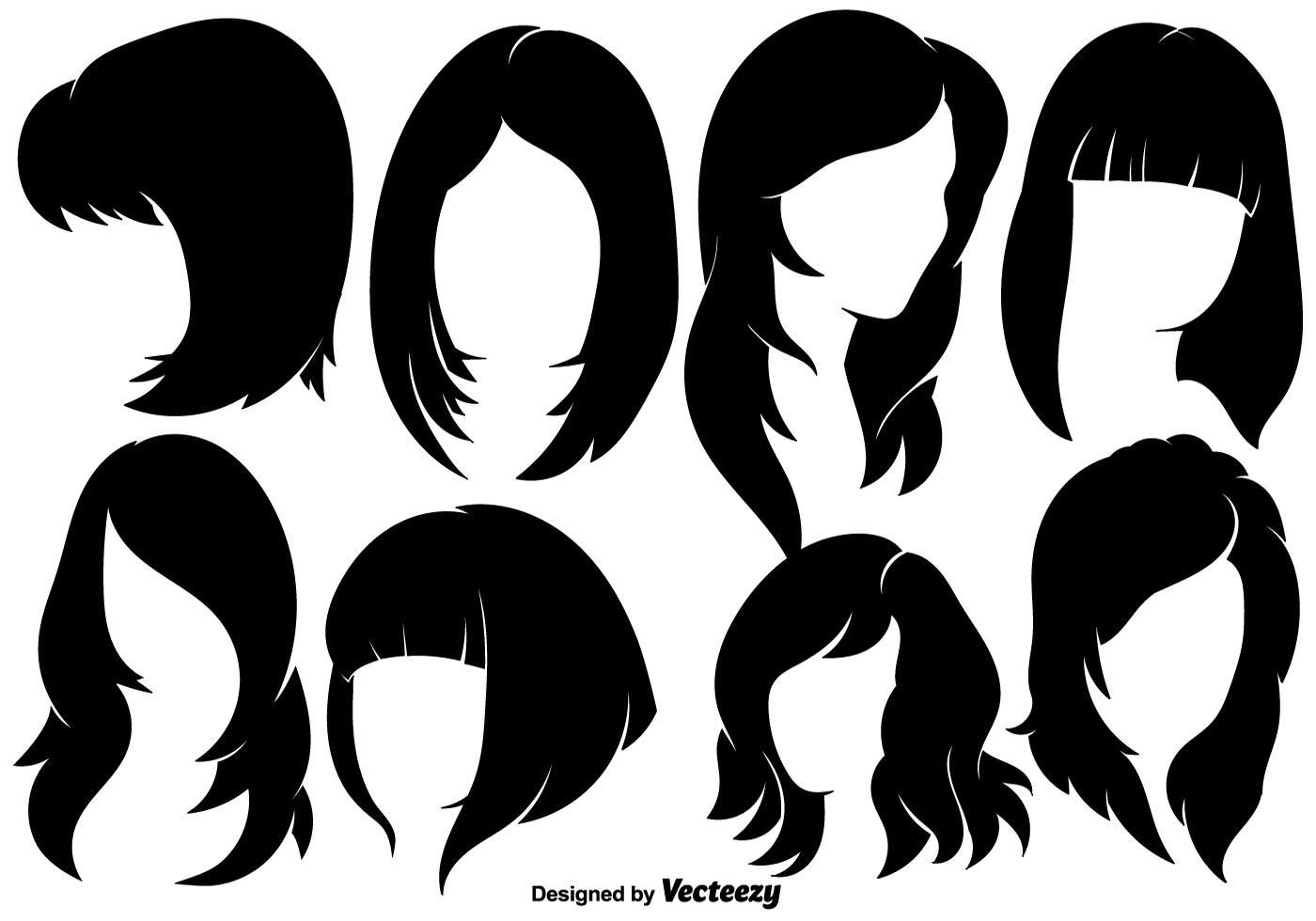 Beautiful Woman With Hairstyles Silhouettes Vector Elements Silhouette Vector Vector Art Design Hair Vector