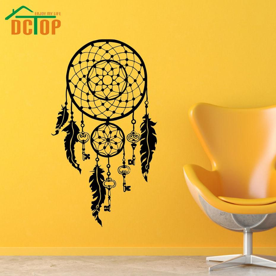 Dream Catcher Wall Stickers Feathers Symbol Vinyl Wall Decals ...