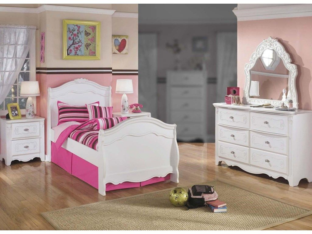 Lil Darling 4pc Twin Sleigh Bed Bedroom Set By Signature Design By Ashley White Bedroom Set Bedroom Sets White