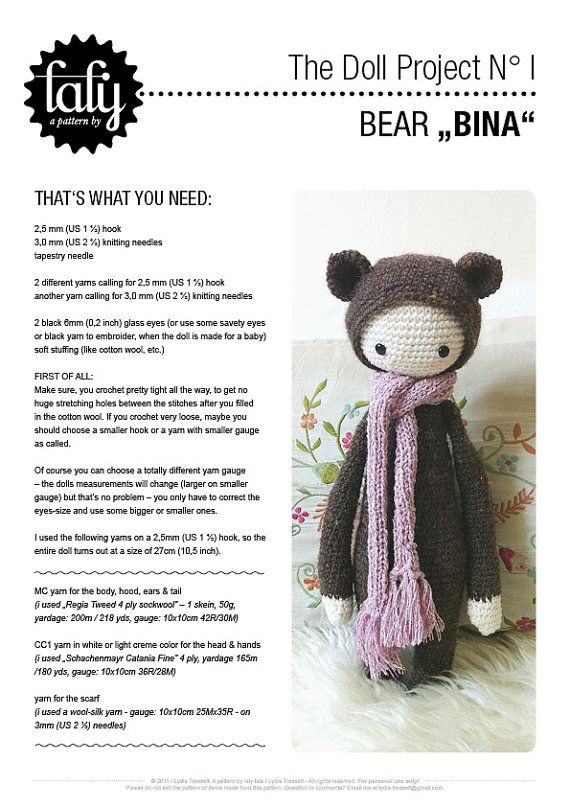 Crochet Pattern Doll Bina the bear PDF by lalylala on Etsy | Crochet ...
