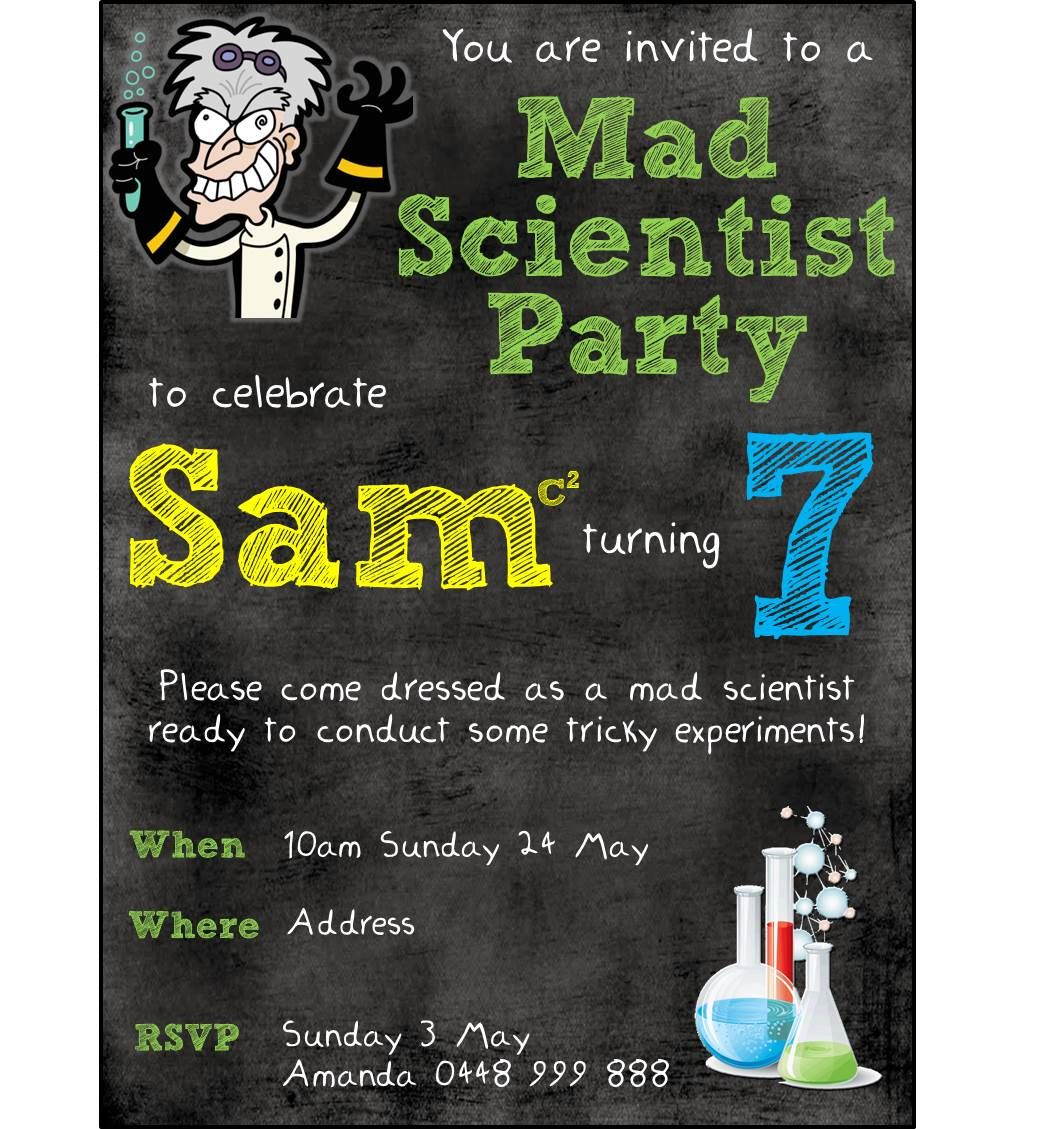 Invite i created for my sons 7th mad scientist birthday party invite i created for my sons 7th mad scientist birthday party stopboris Gallery