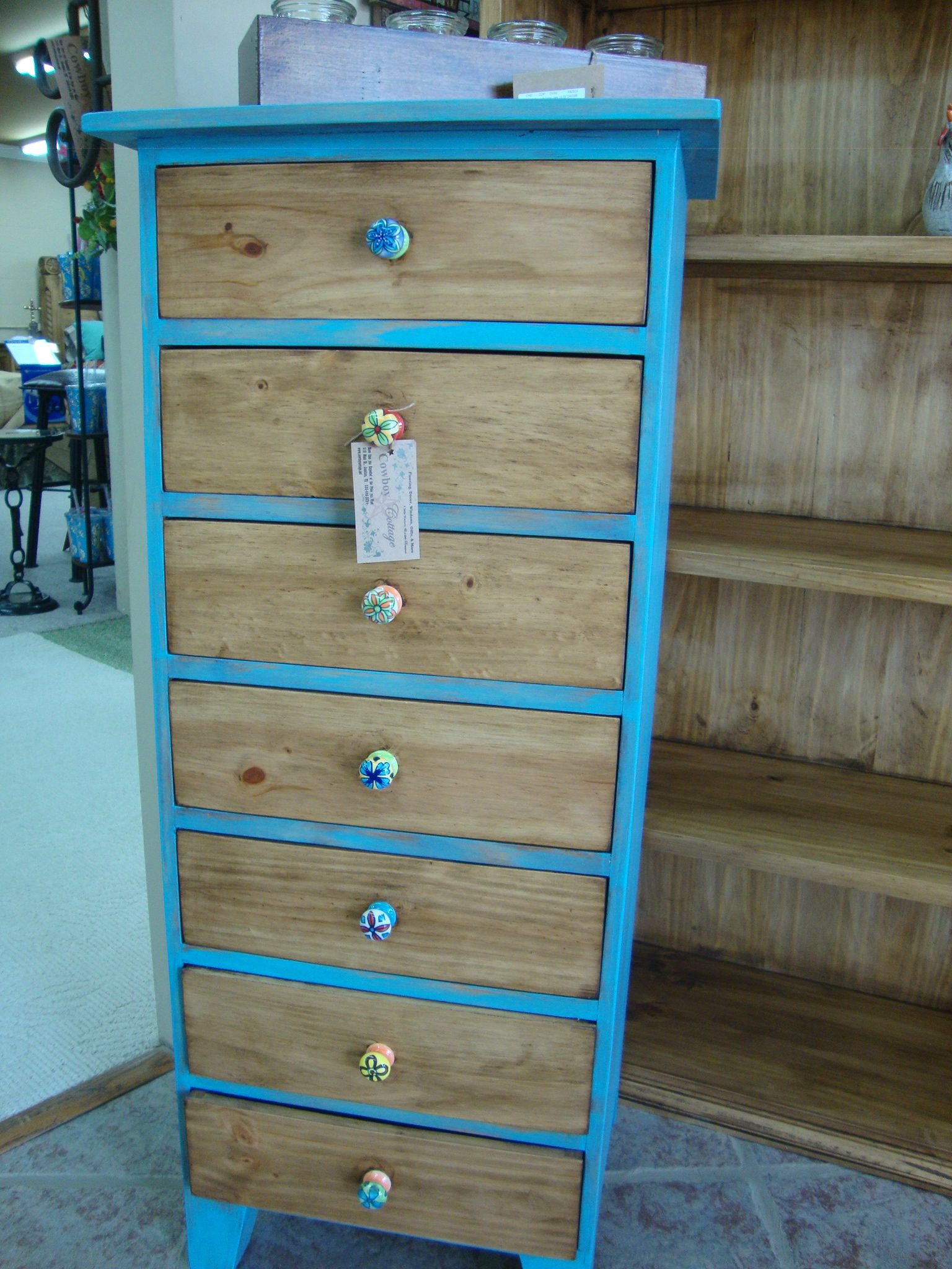 Turquoise Festival 7 Drawer Rustic Pine Cabinet $289 00 Painted