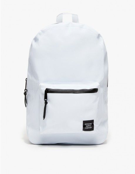 From Herschel Studio, the classic Settlement silhouette backpack updated  with durable industrial grade tarpaulin. Features a waterproof top zipper  closure, ... 967517c407
