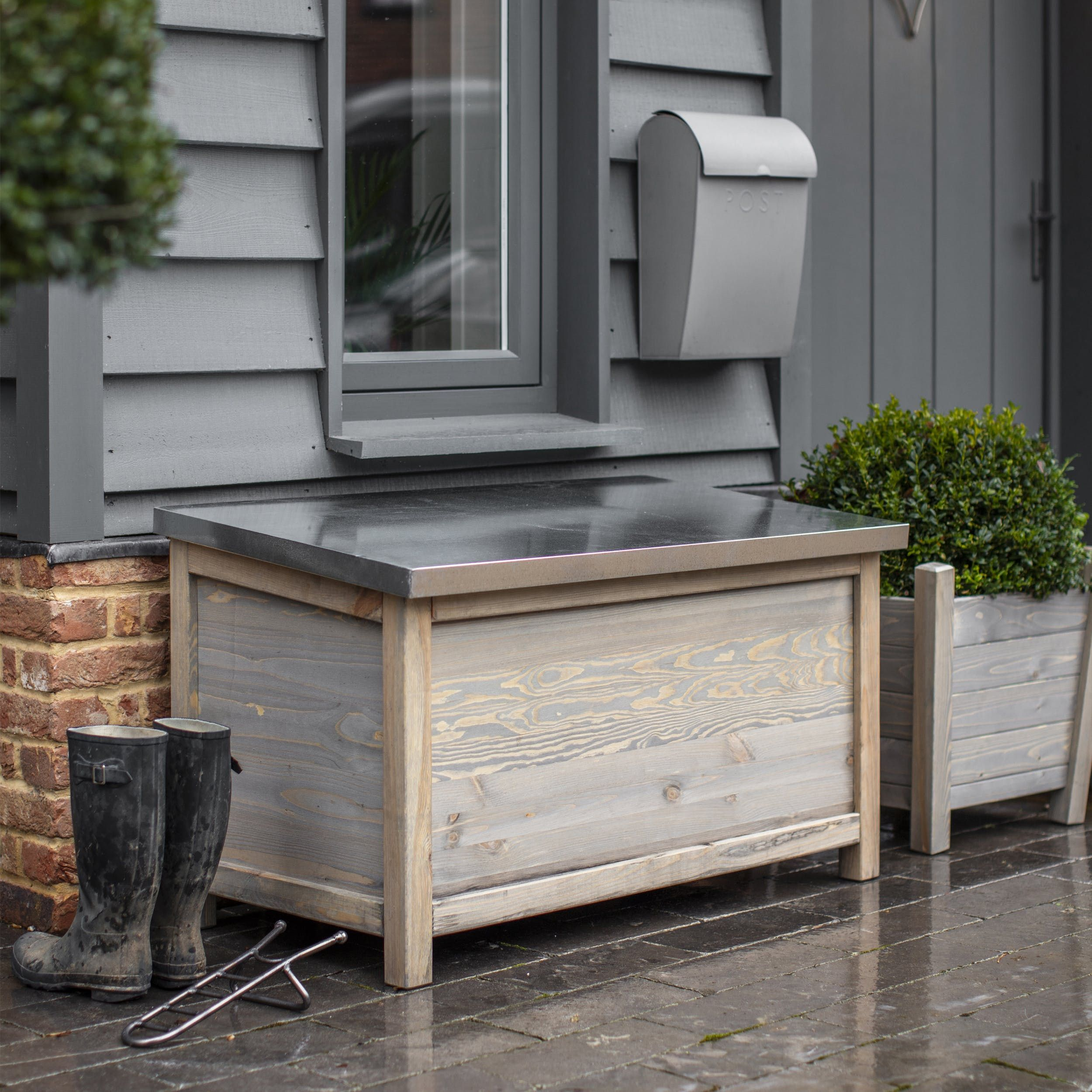 Crafted From Spruce With A Grey Wash Our Range Of Aldsworth Outdoor Storage Boxes Provide Indispen Outdoor Storage Boxes Outdoor Storage Outdoor Storage Trunk