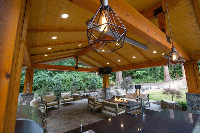 Amazing Patio Cover With Modern Fireplace And Outdoor Kitchen Additional Lights And Heaters Installed By Ro Modern Fireplace Electrical Projects Covered Patio