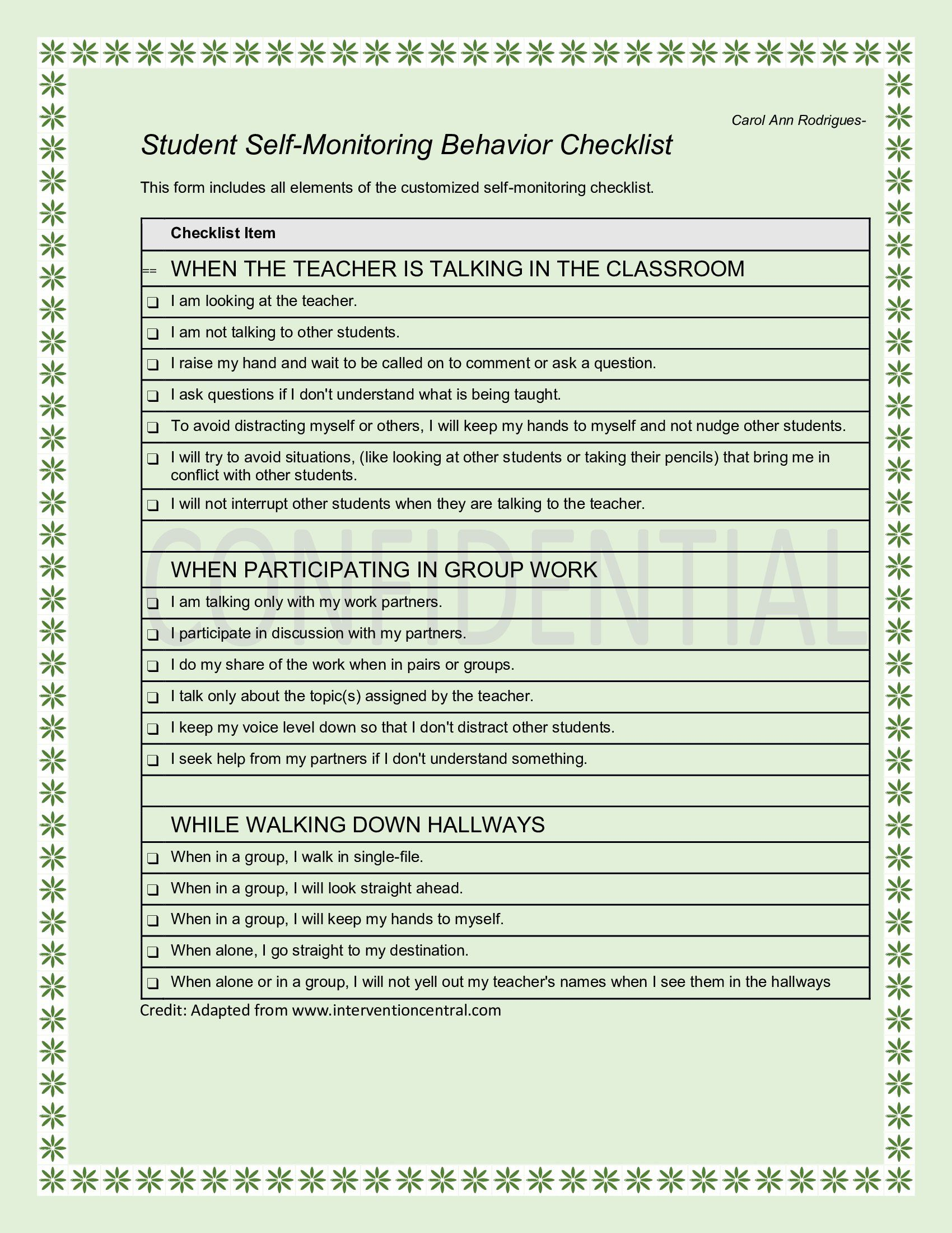 This is the self monitoring behavior checklist I made for the