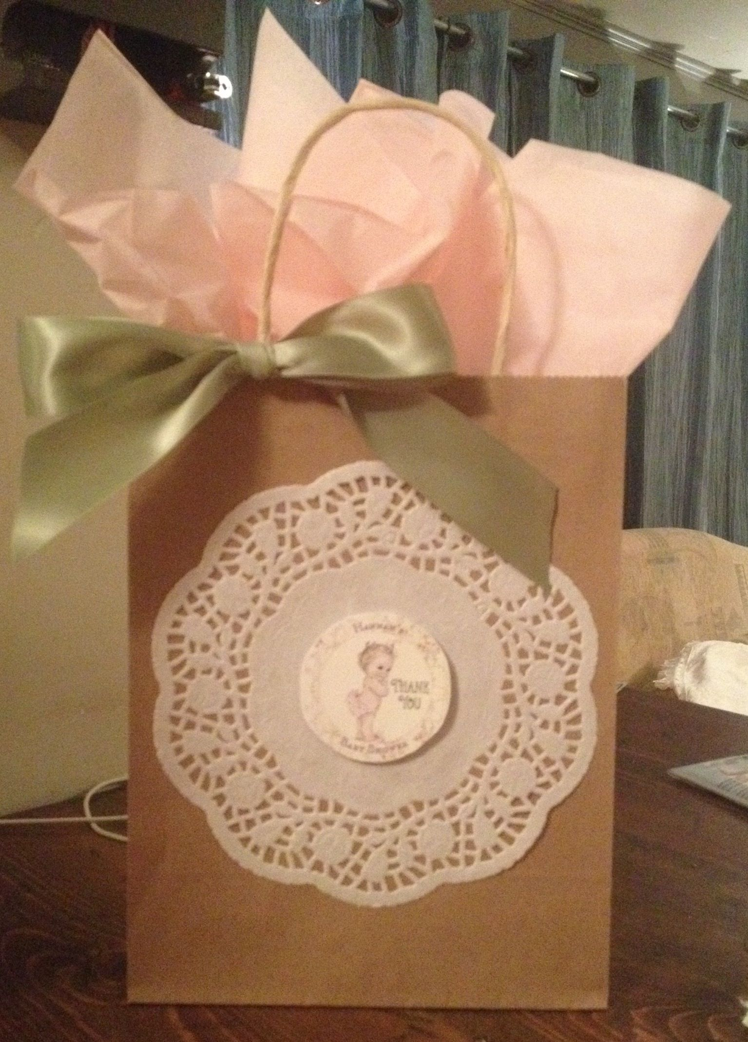 Door prize t bags for a vintage baby shower Dollar tree t