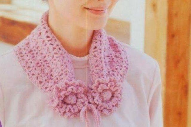Bufanda Cuello 2 Flores Crochet Patron - Patrones Crochet | Cubre ...