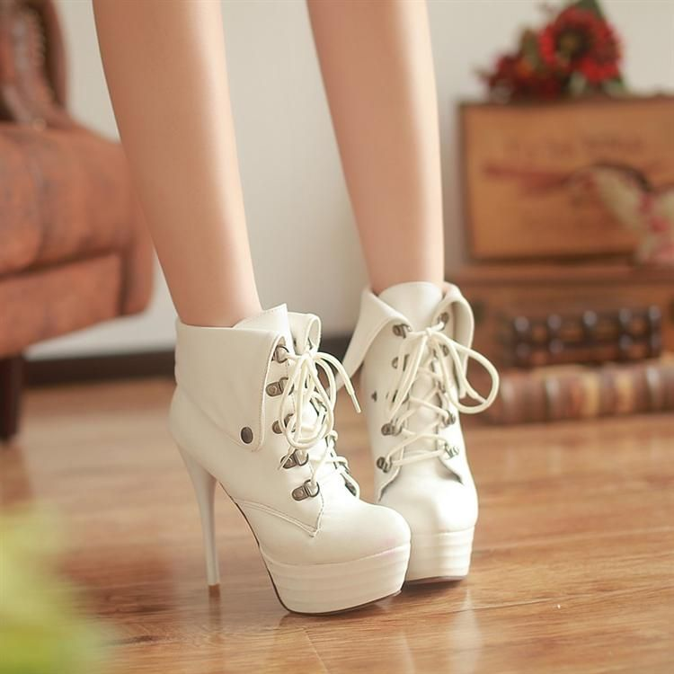 Fashion 13.5cm sexy ultra high heels white ankle-length boots platform lacing martin boots