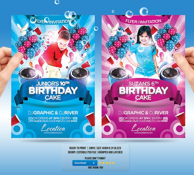 YOU CAN DOWNLOAD THE TEMPLATE HERE graphicrivernetitemkids – Birthday Invitation Flyer Template
