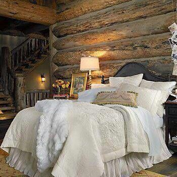 Logcabins Chic Bedroom With Images Home Bedroom Cabin Living