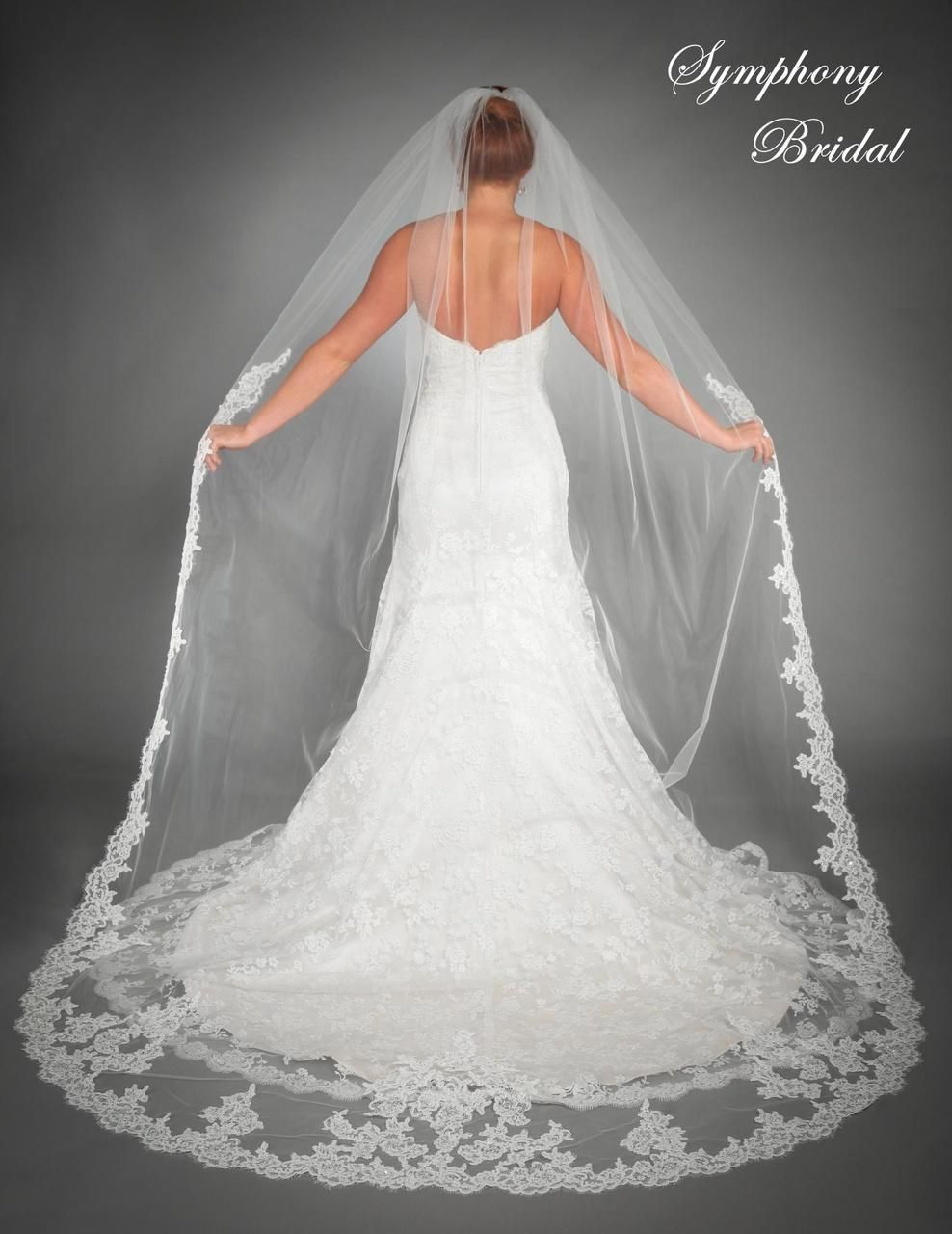Affordable Elegance Bridal Lace Edge Cathedral Length Wedding Veil 6435vl By Symphony 441 49