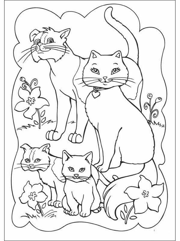 Barbie Princess Cat Coloring Pages X