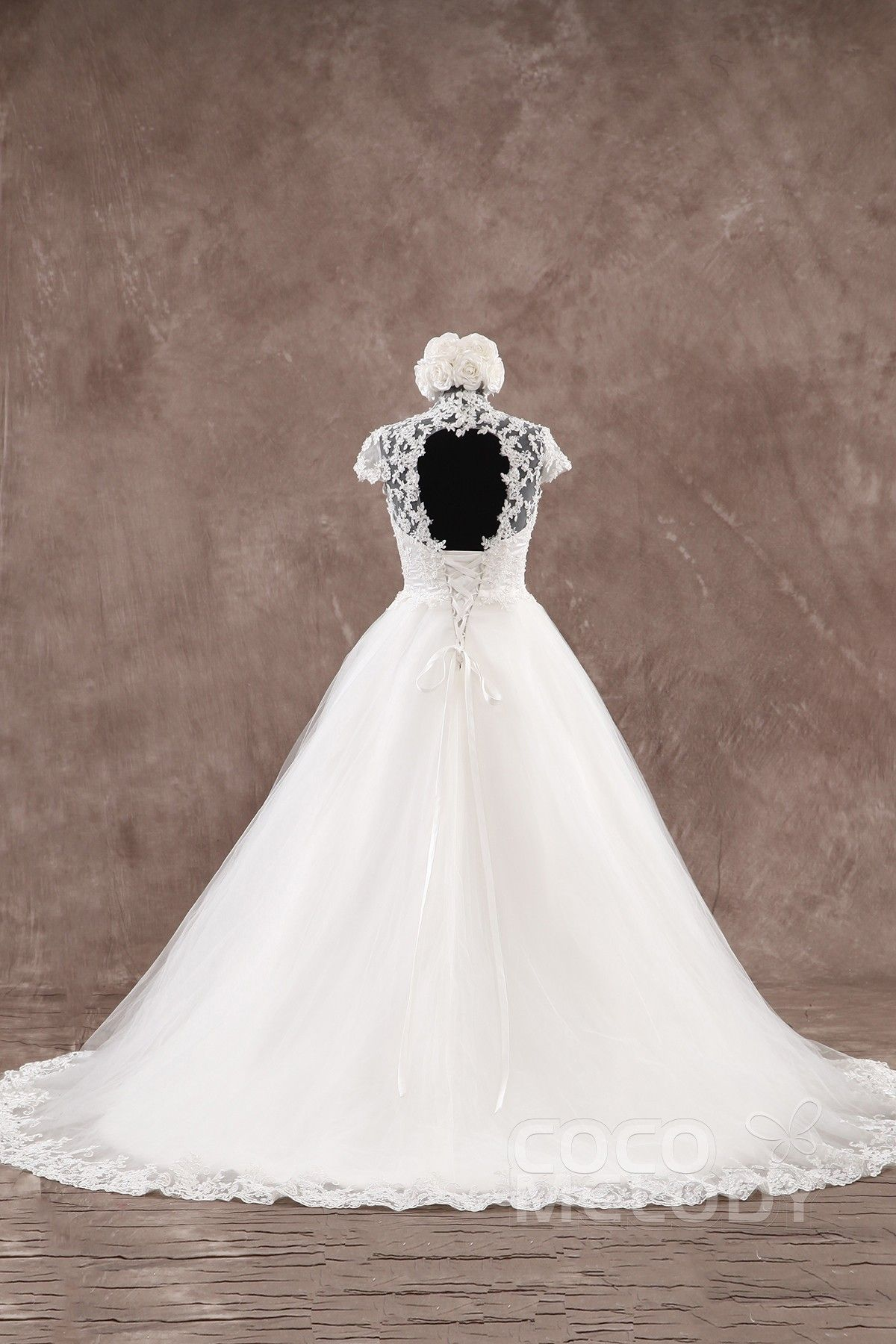 Wedding dress high neck open back  Sexy ALine High Neck Natural Court Train Tulle Ivory Cap Sleeve