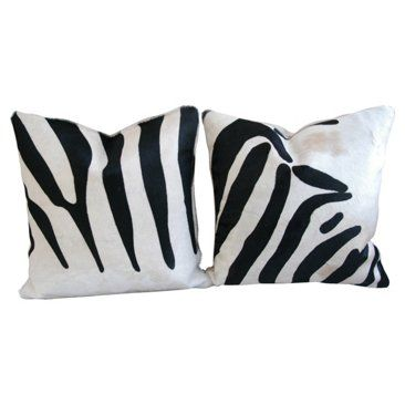 Check out this item at One Kings Lane! Zebra-Stripe Cowhide Pillows, Pair