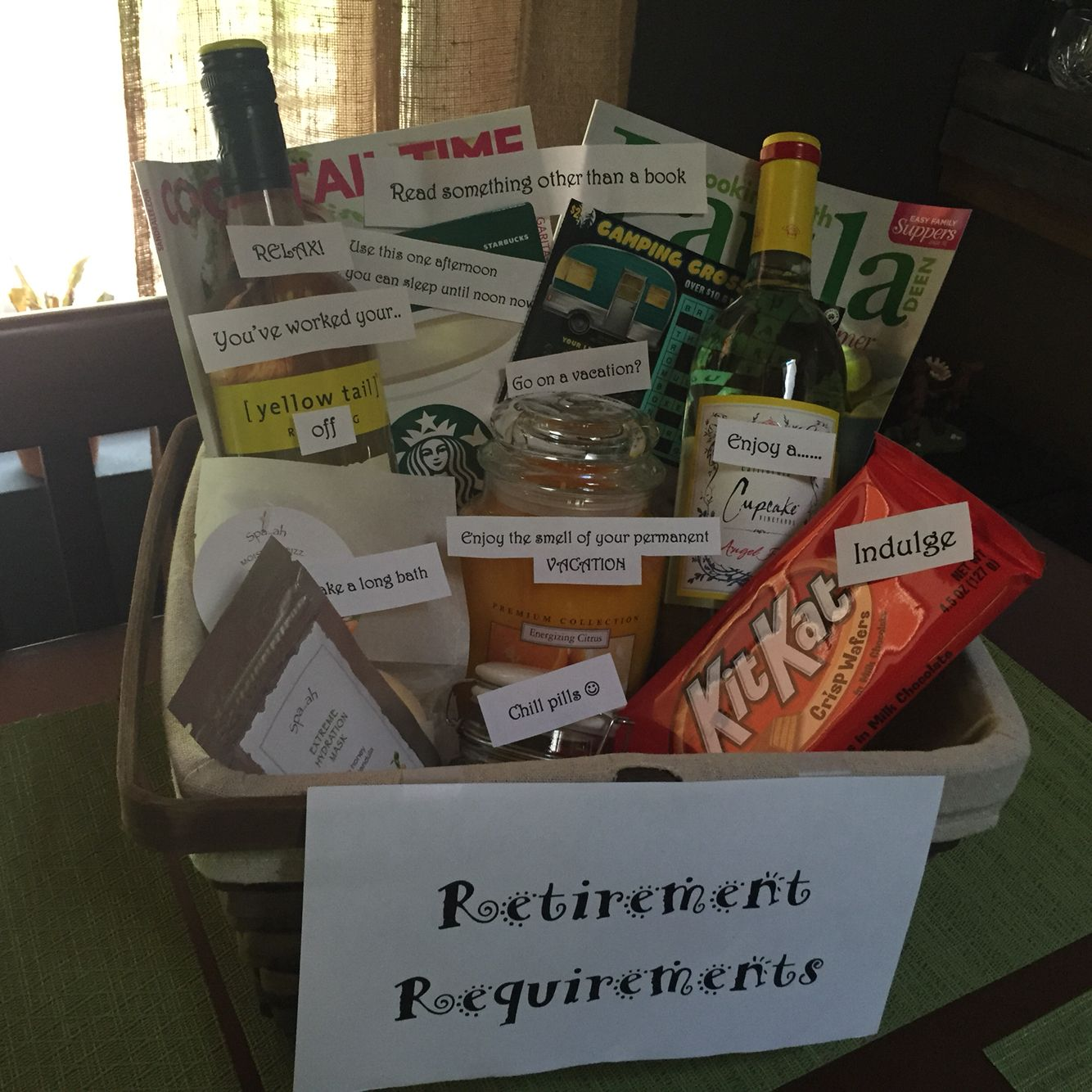 Retirement requirements gift basket | Gift ideas ...