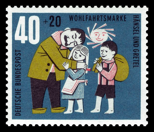 art stamp art german brothers grimm h nsel und gretel return to negligent father. Black Bedroom Furniture Sets. Home Design Ideas