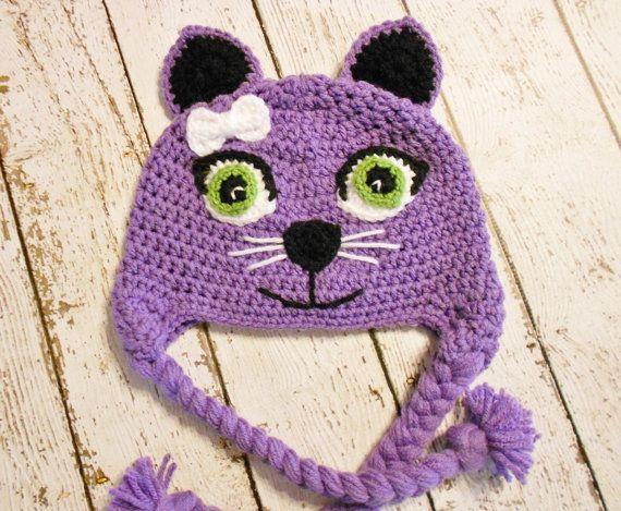 Crochet Kitty Cat Hat-Purple-Newborn to Adult #kittycats