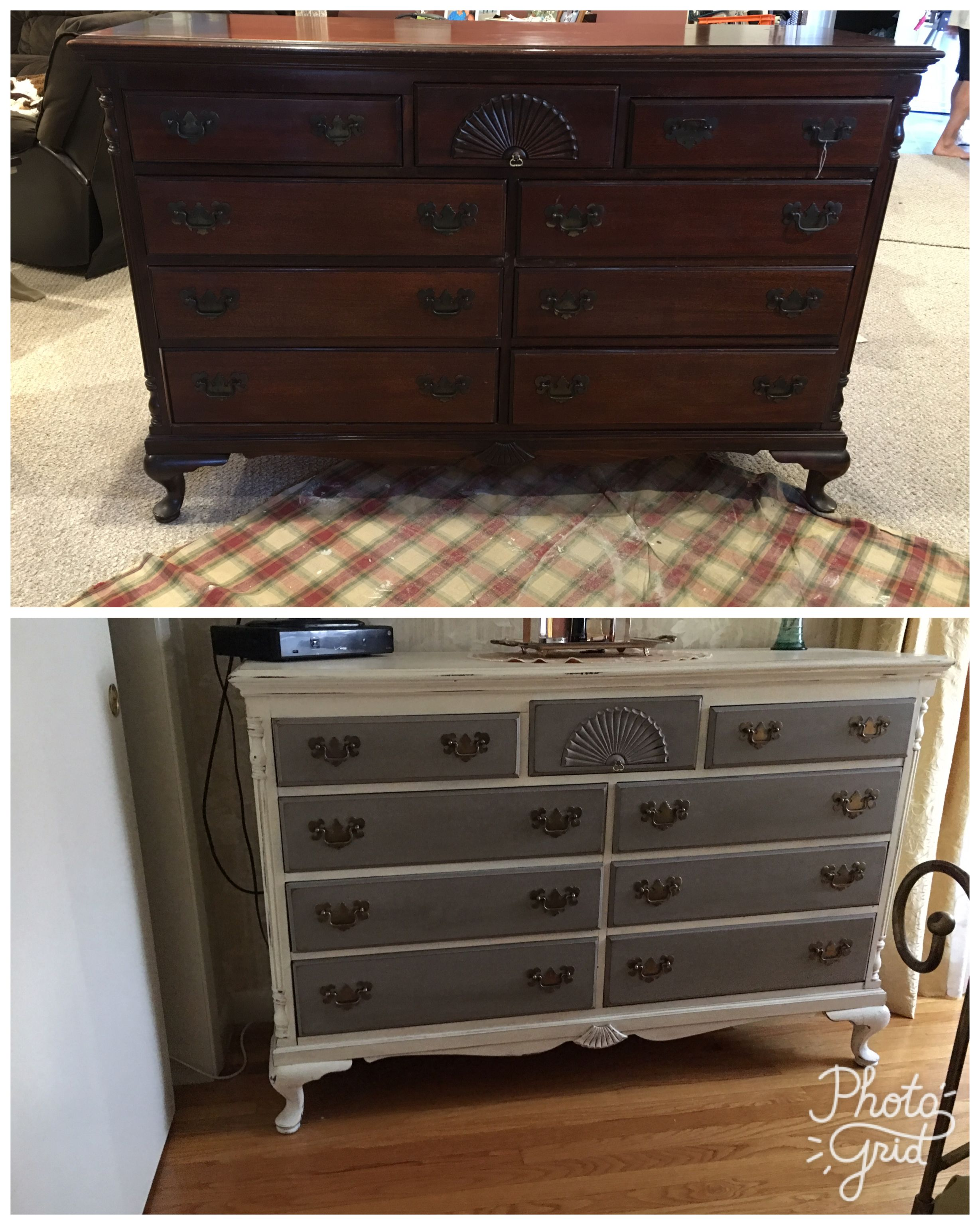 Antique dresser painted with annie sloan old white and french linen