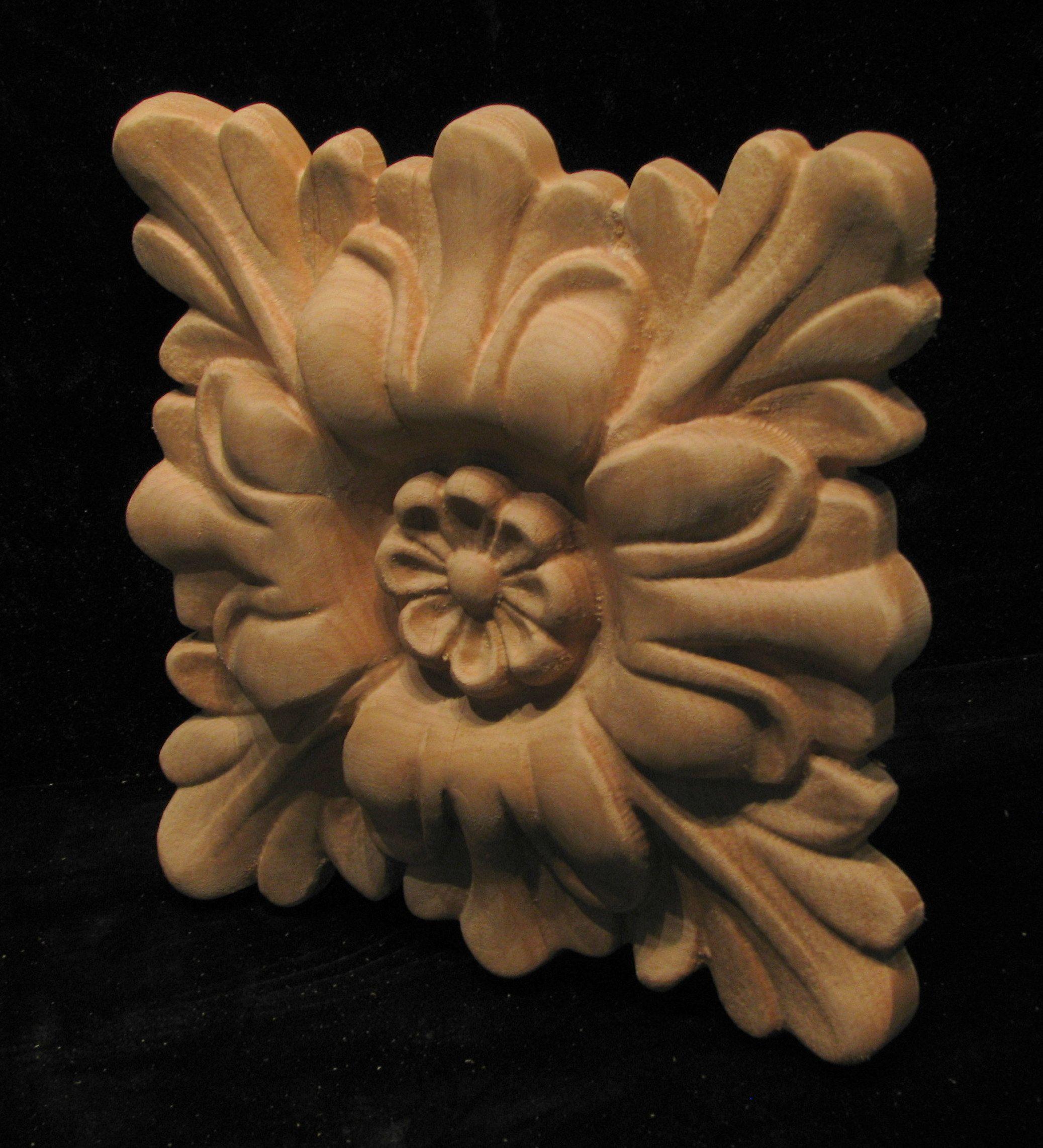 Carved Wood Rosette Floral Square Carved Rosettes