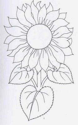 DIBUJOS PARA BORDADOS Sunflower Template Pattern