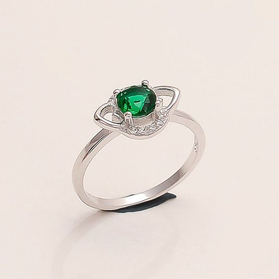 STERLING 925 SILVER HANDCRAFT JEWELRY EMERALD LADY RING