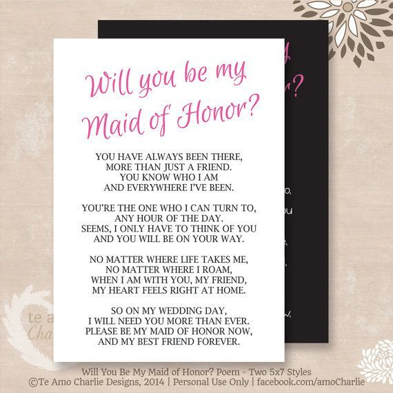 Will You Be My Maid Of Honor Poem