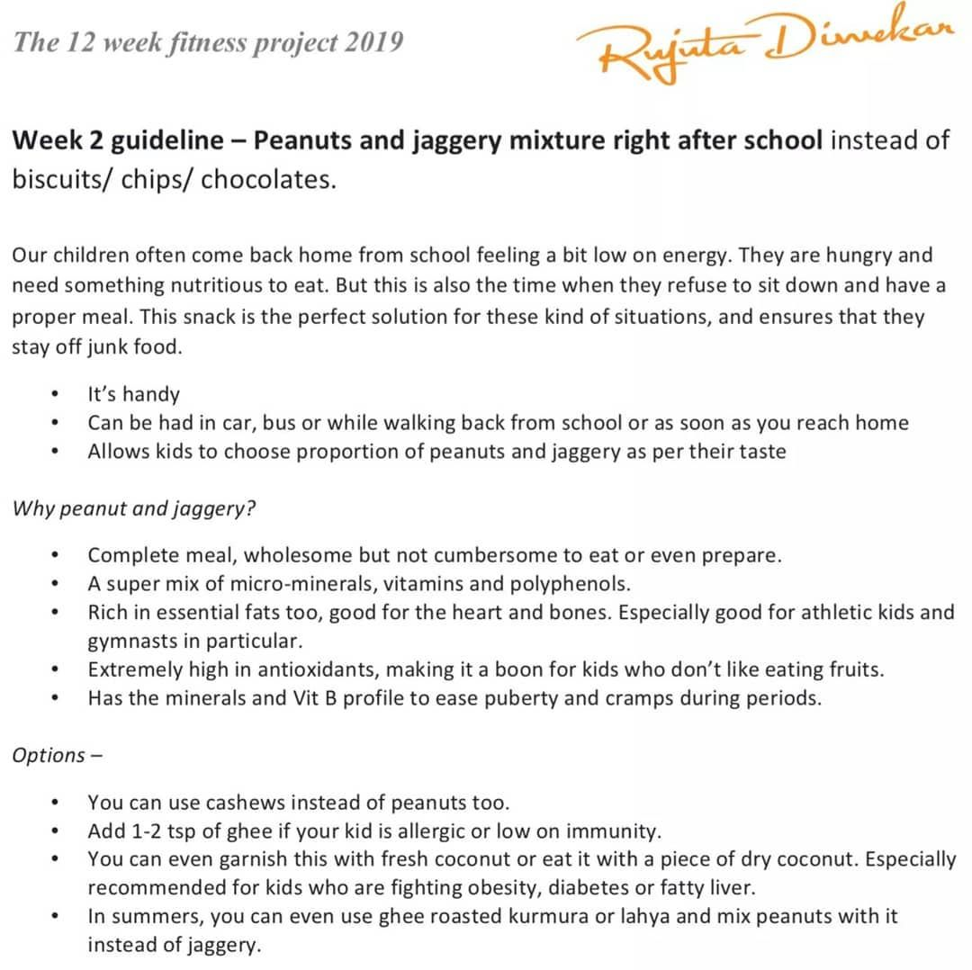 Rujuta Diwekar On Instagram Week 2 Guideline Peanuts And Jaggery Mixture Right After School Instead Of Biscui Rujuta Diwekar Diet Plan After School Jaggery This is rujuta diwekar's diet plan for weight loss. rujuta diwekar diet plan