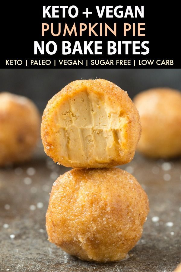 No Bake Keto Low Carb Pumpkin Pie Bites (Paleo, Vegan, Gluten Free, Dairy Free, Sugar Free)- an easy 5-ingredient recipe for pumpkin pie fat bombs which taste like a pumpkin cheesecake! Nut-free, NO sugar, NO dairy and ready in 5 minutes! #keto #ketodessert #fatbomb #vegan #dairyfree #pumpkinpie | Recipe on thebigmansworld.com #pumpkinpie