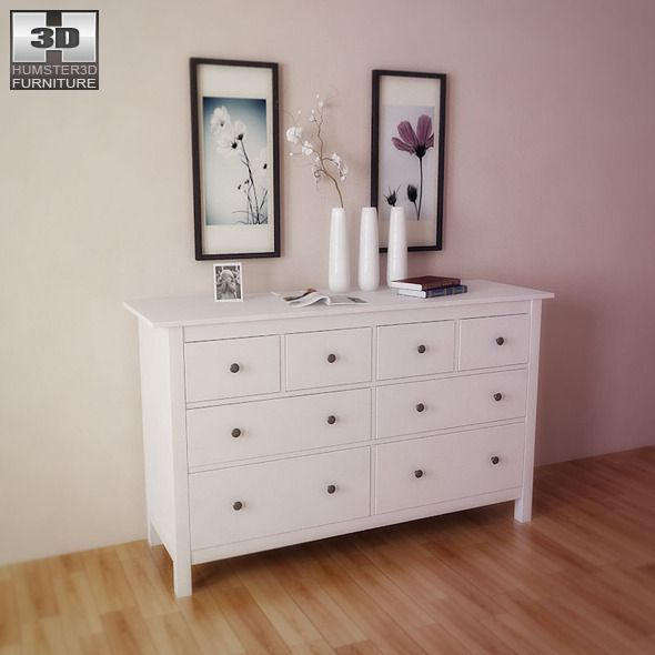 3docean ikea hemnes chest of 8 drawers 3d model 3d models furnishings furniture 686469 ikea. Black Bedroom Furniture Sets. Home Design Ideas