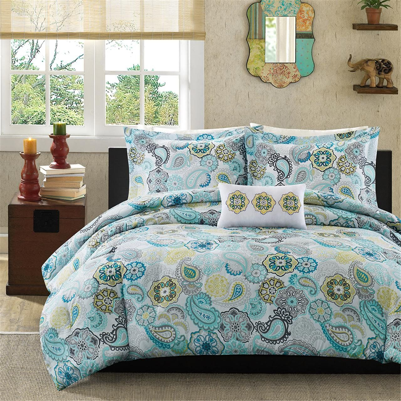 A Welcome Comfort From Teal And Gray Bedding