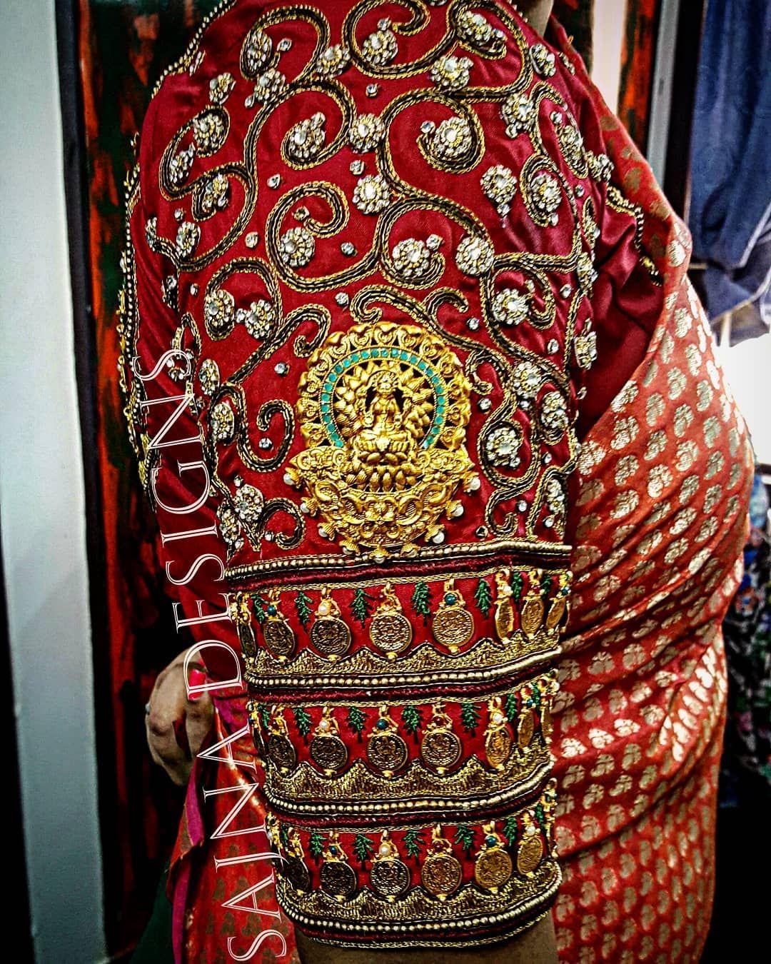 0613e572f9963 Beautiful maroon color designer blouse with lata design and lakshmi devi  motif design. 13 January 2018