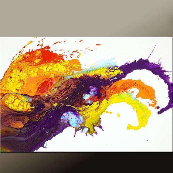 Abstracto arte lienzo 24 x 36 Original contemporáneo por wostudios