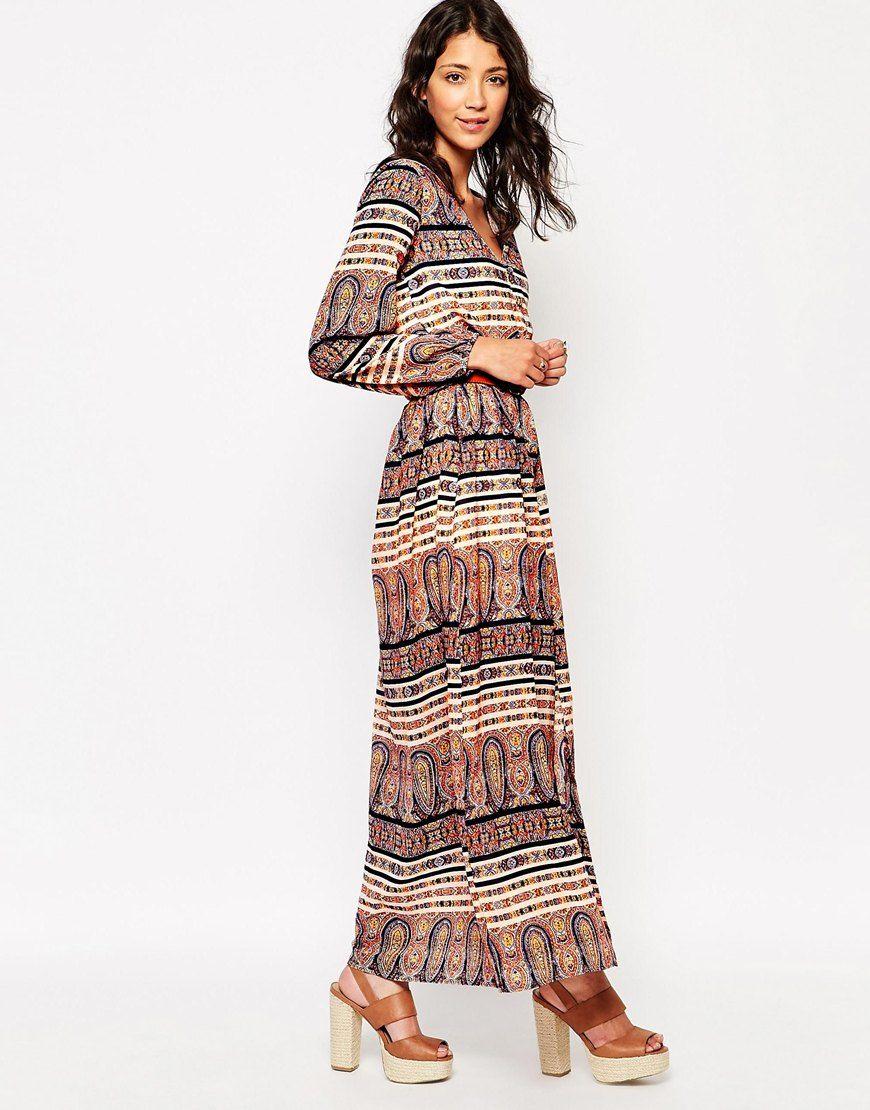 Influence long sleeve boho maxi dress at boho