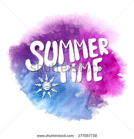 Conceptual handwritten phrase Summer time on abstract multicolored watercolor splash. Hand drawn tee graphic. T shirt hand lettered calligraphic design. Lettering design. Vector illustration