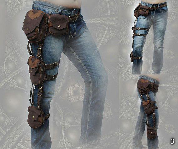 Trail Tracker Belt – triple one leg pocket grip belt – cosplay steampunk style tomb raider extension hip waist pocket thigh bags belt
