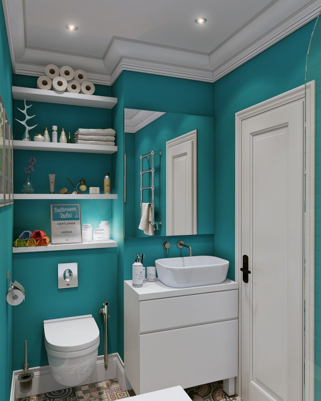 Contemporary Teal Bathroom Wall Color Scheme With Wooden Shelves Above  Toilet Asu2026