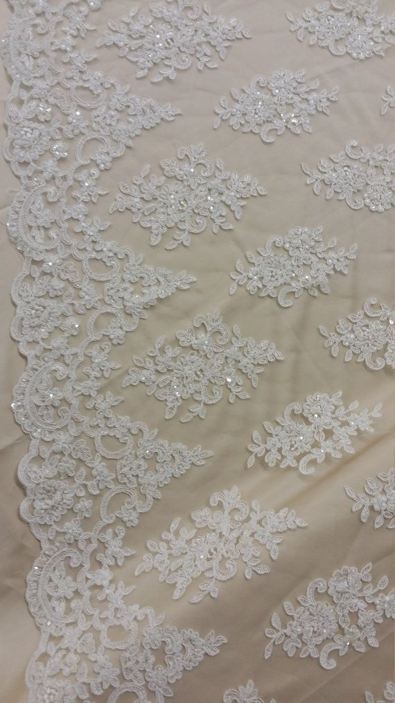 Ivory Design Beaded Fabric,Lace Fabric By The Yard-Embroider Beaded For Bridal-Floral Mesh Dress Lace Prom-Nightgown skirts runners