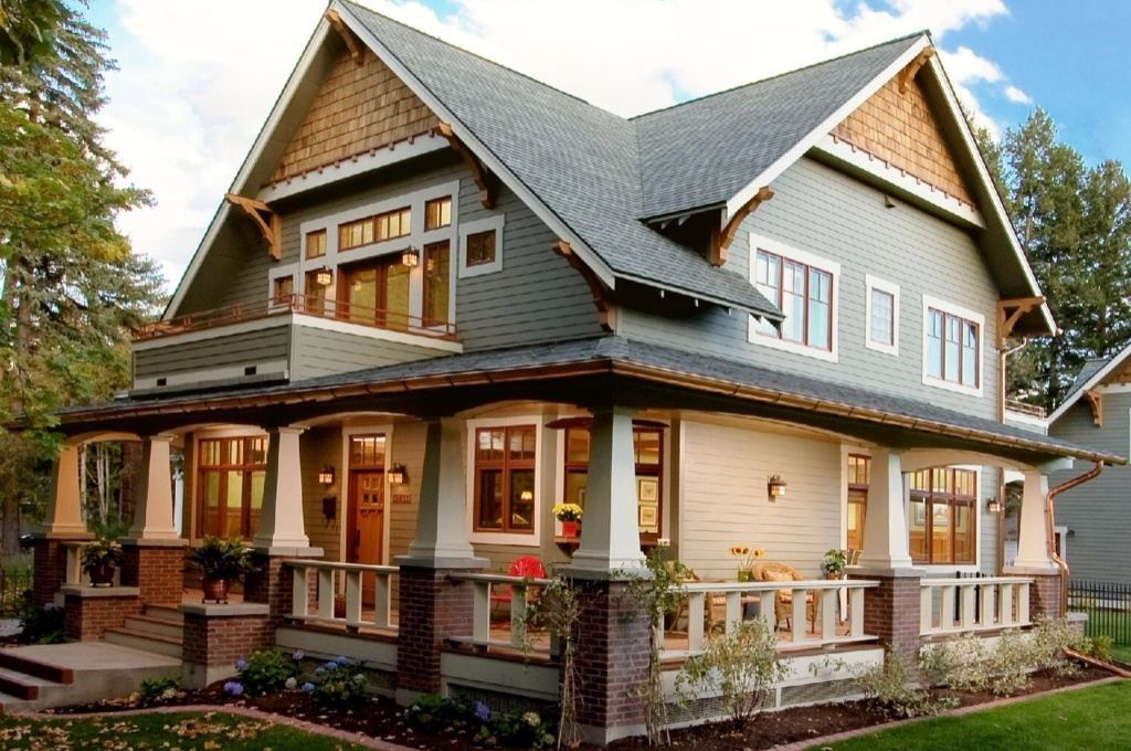 Home Exteriors Ideas Part - 35: Architecture, Craftsman Home Exterior Paint Colors Design Ideas Color  Schemes Brown Brick Wall Four White