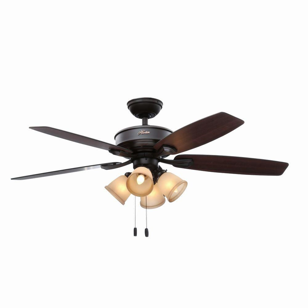 Hunter belmor 52 in indoor new bronze ceiling fan with light kit aloadofball Image collections