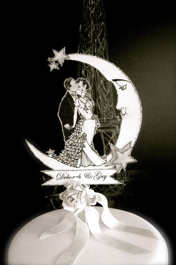 Silver Screen Wedding Cake Topper - Black and White Old Hollywood Inspired Bride and Groom - Silver Detail
