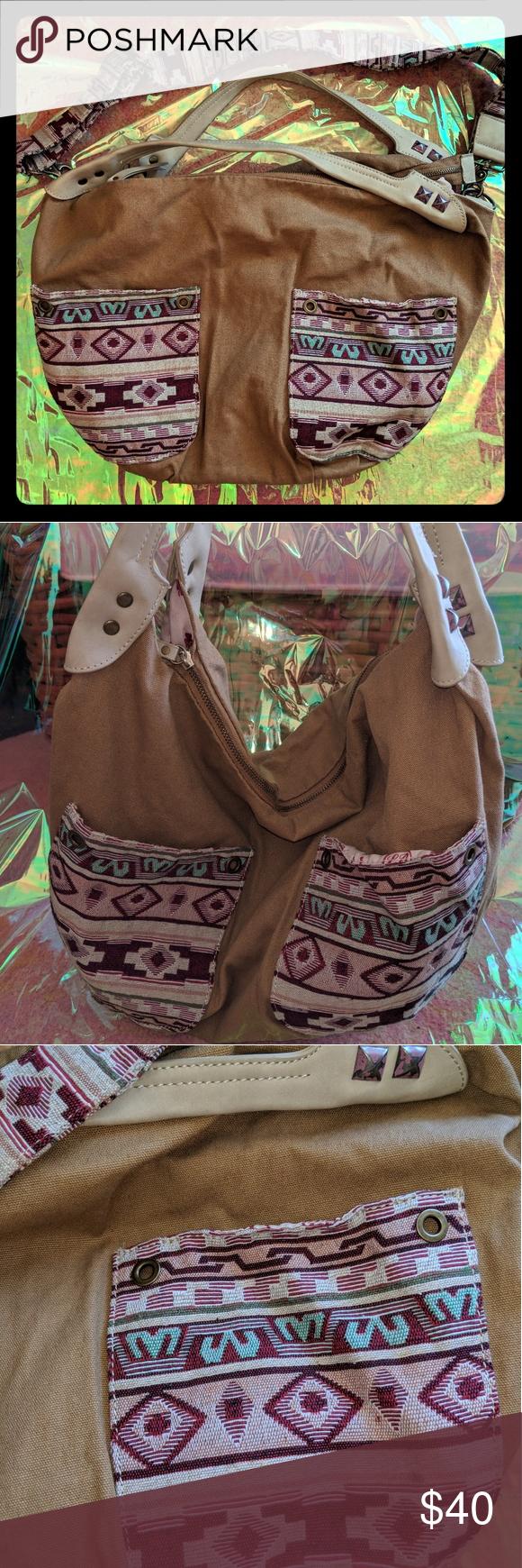 Lucky Brand messenger hobo bag bohemian Aztec Lucky Brand slouchy hobo bag  in kakhi canvas with b94bfa2891