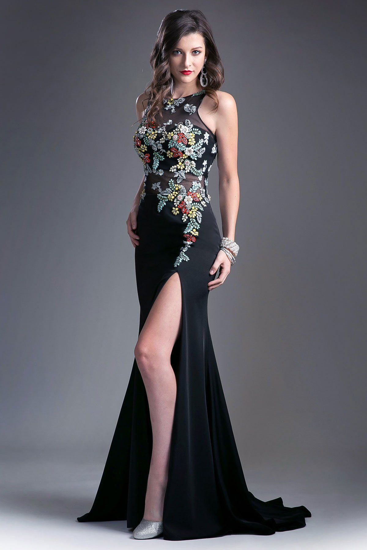 Beautiful floor length form fitting gold embroidered