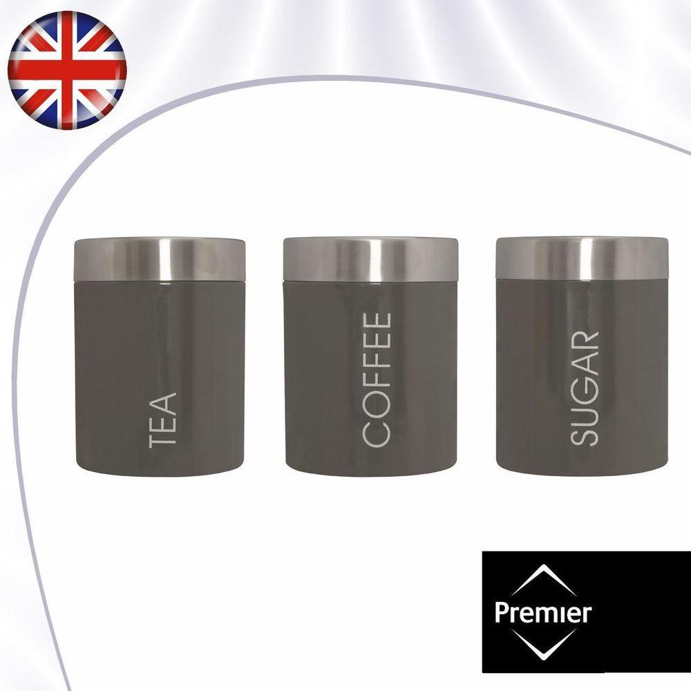 set of 3 tea coffee sugar canisters storage jars grey enamel steel