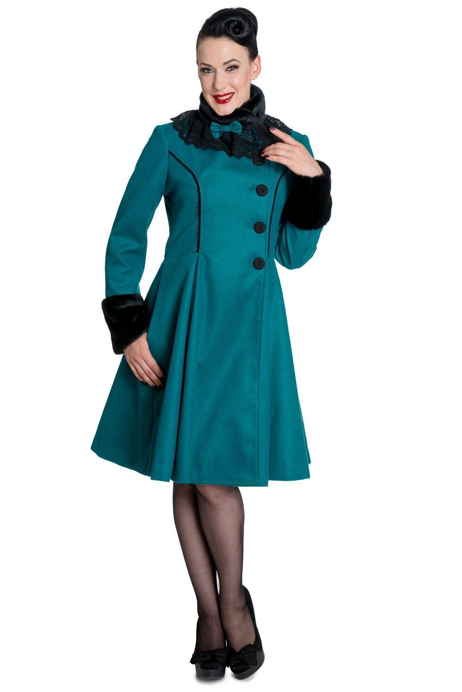 Hell bunny vintage victorian design teal green angeline winter coat