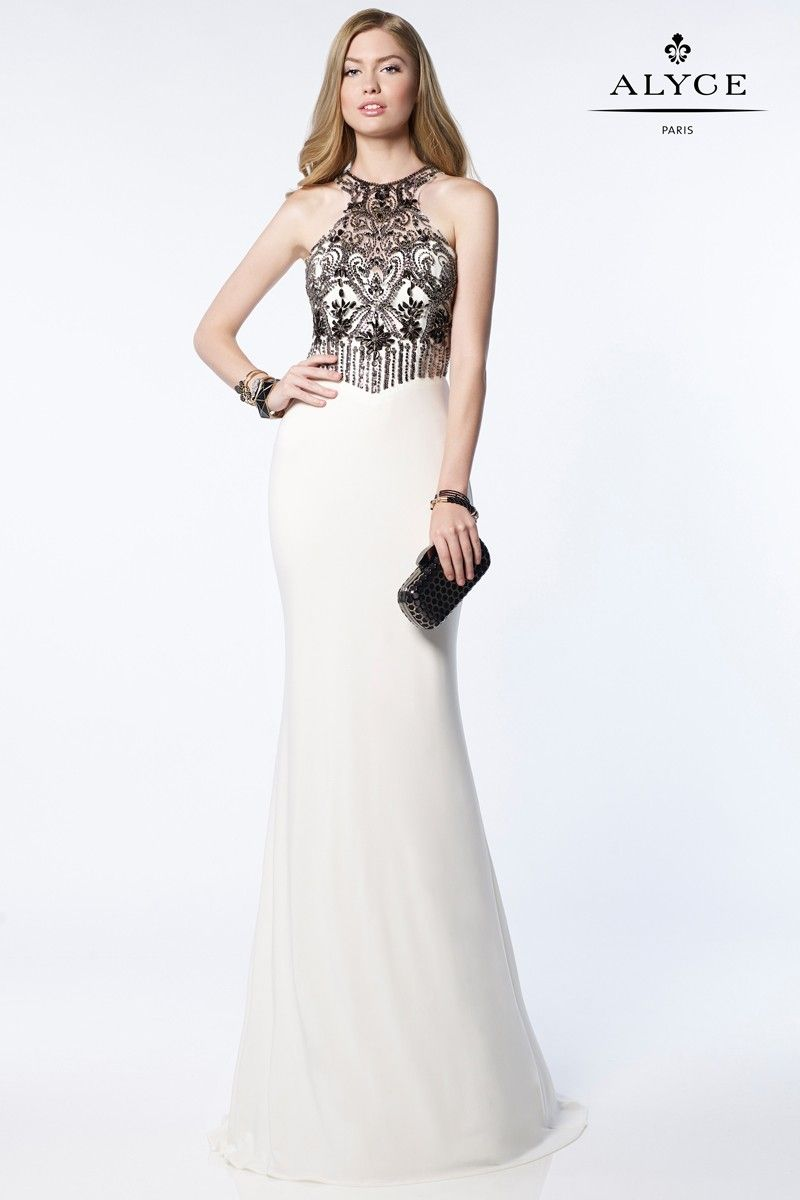 Dress style jersey embroidered top with cutout prom